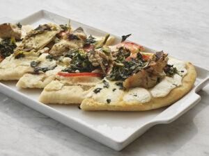spinach and grilled artichoke flatbread pizza